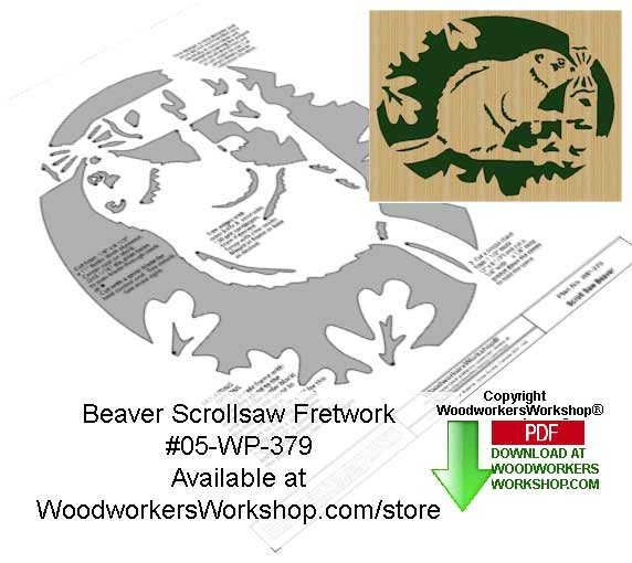 Beaver Downloadable Scrollsaw Woodcrafting Pattern