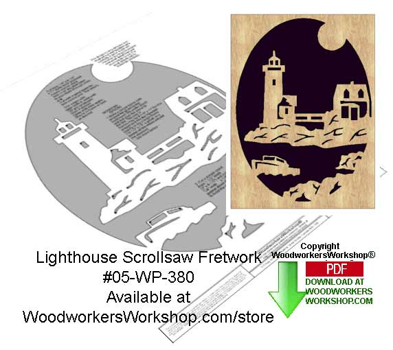 05-WP-380 - Lighthouse Downloadable Scrollsaw Woodcrafting Pattern PDF