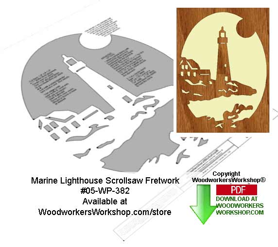 05-WP-382 - Marine Lighthouse Downloadable Scrollsaw Woodcrafting Pattern PDF