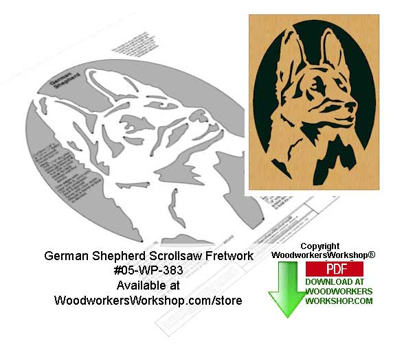 German Shepherd Downloadable Scrollsaw Woodcrafting Pattern