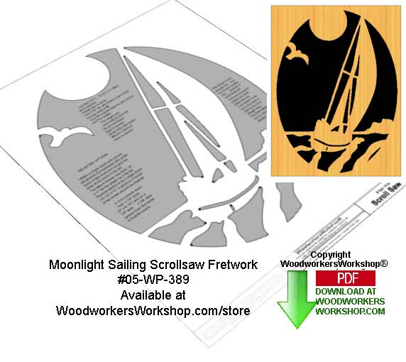 Moonlight Sailing Downloadable Scrollsaw Woodcrafting Pattern