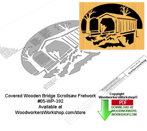 05-WP-392 - Covered Bridge Downloadable Scrollsaw Woodcrafting Pattern PDF