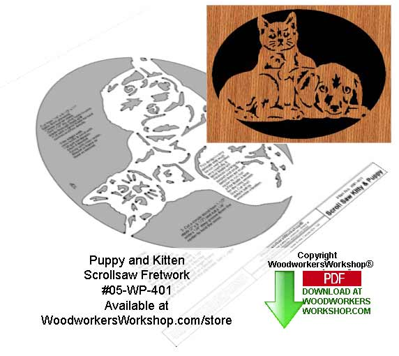 Puppy and Kitten Downloadable Scrollsaw Woodcrafting Pattern