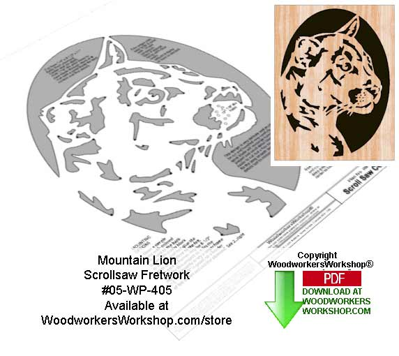 Mountain Lion Downloadable Scrollsaw Woodcrafting Pattern