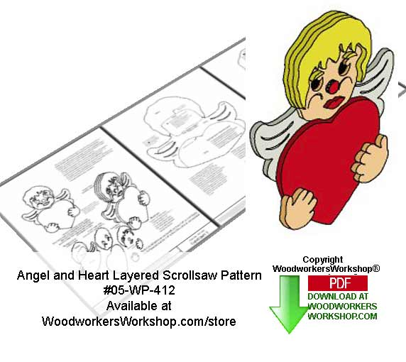 Angel and Heart Downloadable Scrollsaw Woodcrafting Pattern