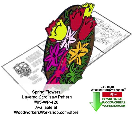Spring Flowers Layered Downloadable Scrollsaw Woodcrafting Pattern