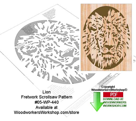 Lion Downloadable Scrollsaw Woodcrafting Pattern