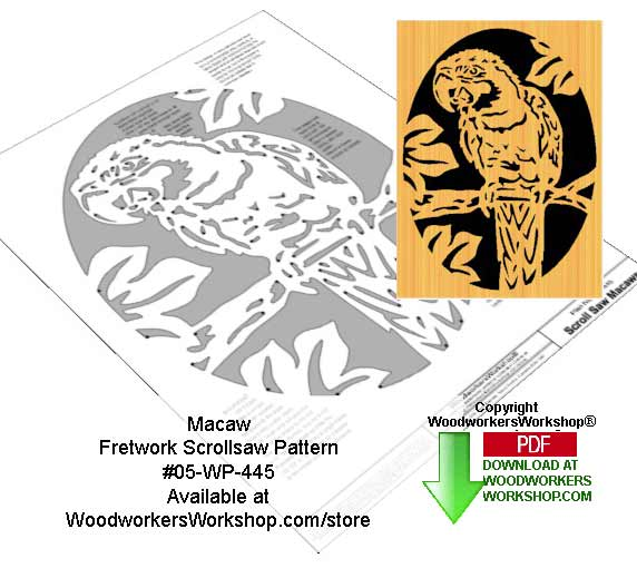 Macaw Downloadable Scrollsaw Woodworking Pattern Woodworkersworkshop