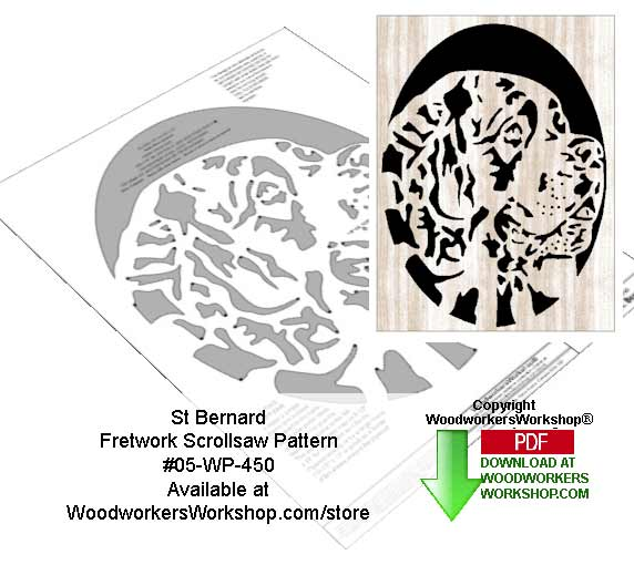 St Bernard Downloadable Scrollsaw Woodworking Pattern