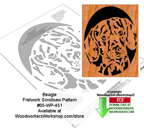 Beagle Downloadable Scrollsaw Woodworking Pattern