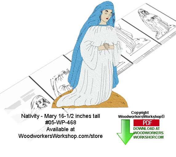 Nativity Mary Downloadable Scrollsaw Woodcrafting Pattern