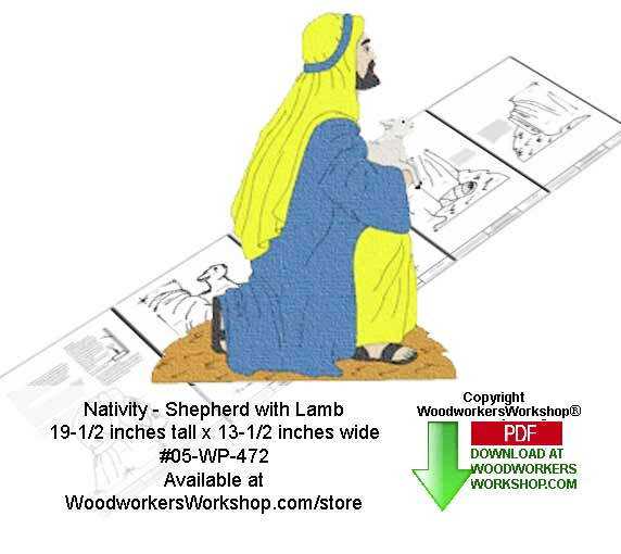 Nativity Shepherd with lamb Downloadable Woodcrafting Pattern