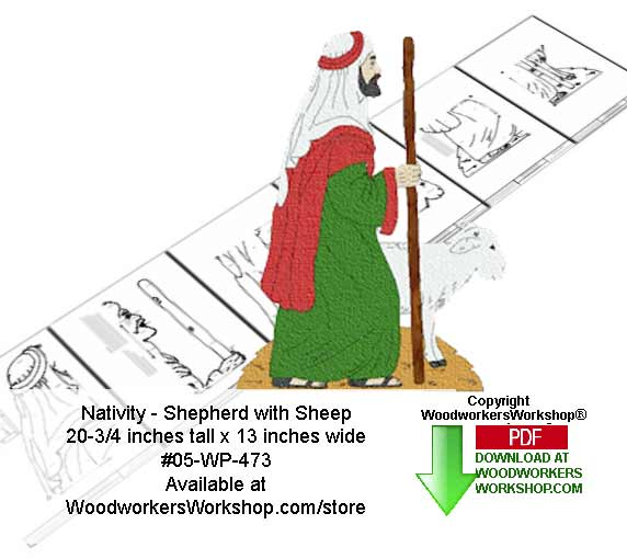 Nativity Shepherd with sheep Downloadable Woodcrafting Pattern