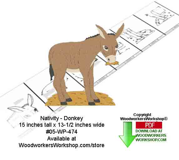 Nativity Donkey Downloadable Woodcrafting Pattern