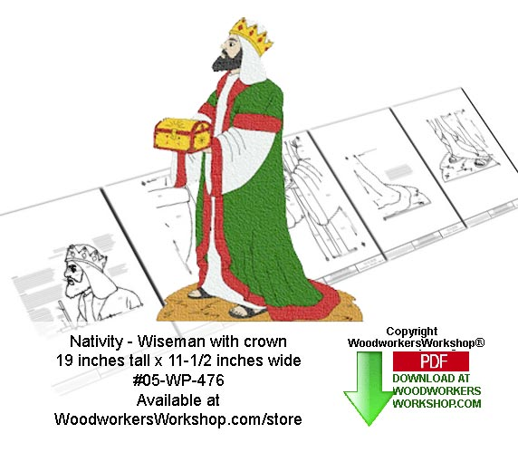 05-WP-476 - Nativity Wiseman with crown Downloadable Woodcrafting Pattern PDF