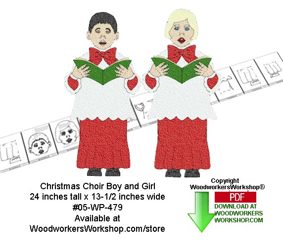 Christmas Choir Boy and Girl Downloadable Woodcrafting Pattern