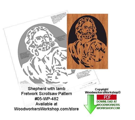 05-WP-482 - Shepherd with Lamb Downloadable Scrollsaw Woodcrafting Pattern PDF