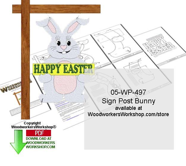 Sign Post Bunny Downloadable Woodcrafting