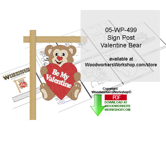 Sign Post Valentine Bear Downloadable Woodcrafting