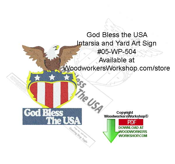 God Bless the USA Intarsia and Yard Art Sign Woodcrafting Pattern