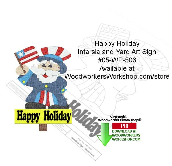 Happy Holiday Intarsia or Yard Art Sign Woodcrafting Pattern