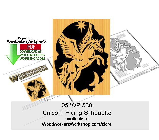 Unicorn Flying Downloadable Scrollsaw Woodcrafting Pattern