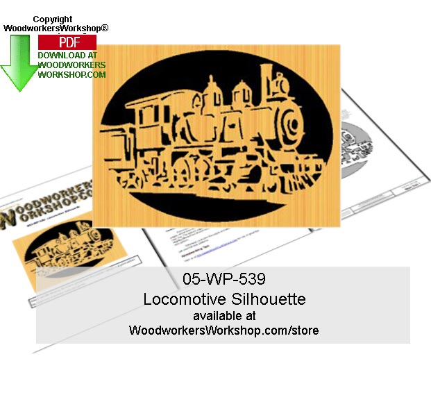 Locomotive Silhouette Downloadable Scrollsawing Woodcraft Pattern