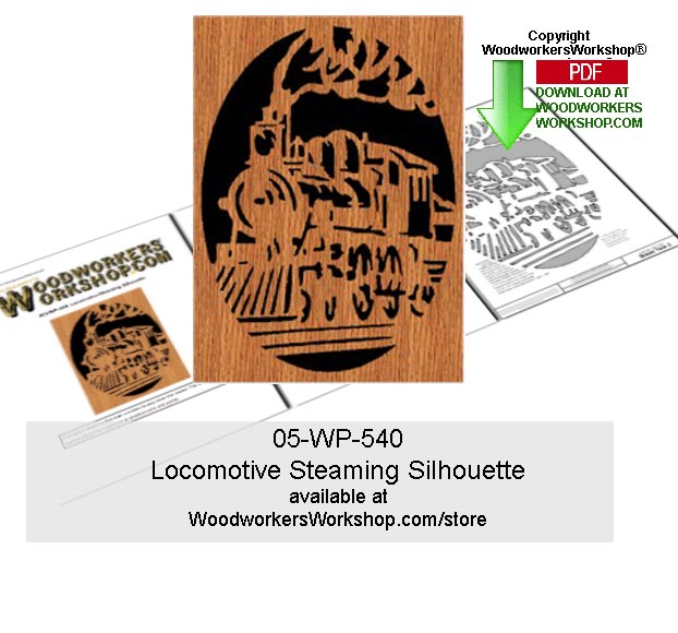 05-WP-540 - Locomotive Steaming Silhouette Scrollsawing Woodcraft Pattern PDF