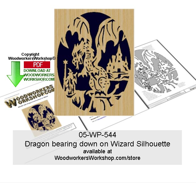 Dragon bearing down on Wizard Scrollsawing Woodcraft Pattern