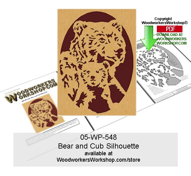 Bear and Cub Downloadable Scrollsawing Woodcraft Pattern