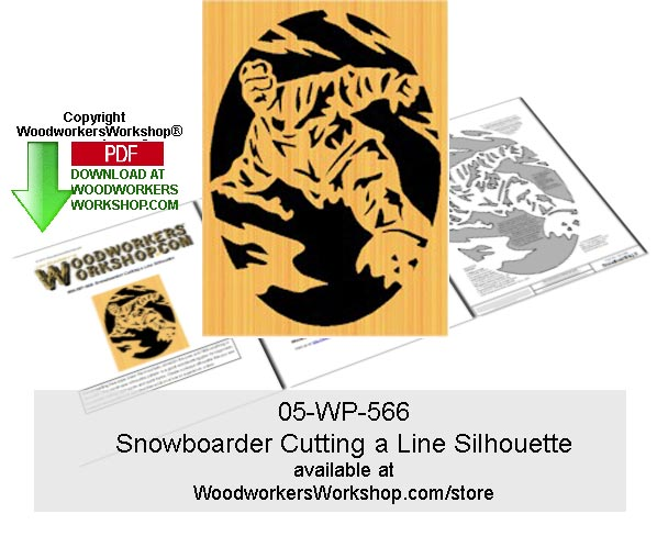 Snowboarder Cutting a Line Silhouette Downloadable Scrollsawing
