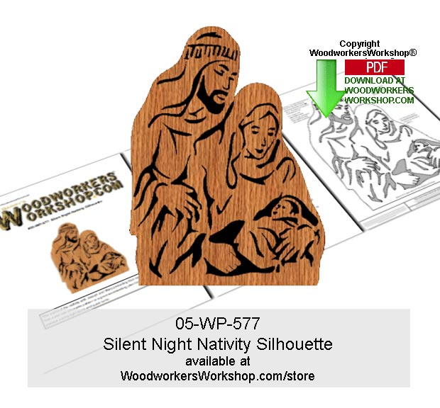 Silent Night Nativity Downloadable Scrollsawing Silhouette Pattern