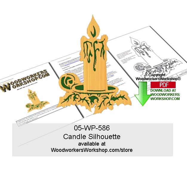 05-WP-586 - Candle Silhouette Downloadable Scrollsawing Woodcraft Pattern PDF