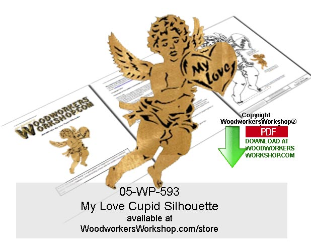 My Love Cupid Silhouette Scrollsawing Pattern Downloadable
