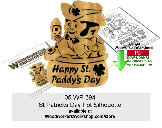 St Patricks Day Pot Silhouette Scrollsawing Pattern Downloadable