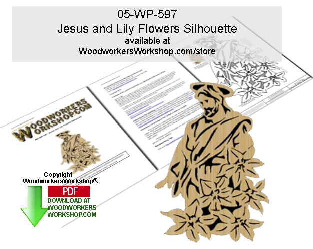 Jesus and Lily Flowers Silhouette Scrollsaw Pattern Downloadable