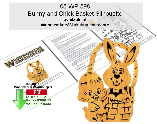 05-WP-598 - Bunny and Chick Basket Silhouette Scrollsaw Pattern Downloadable PDF