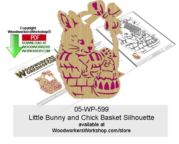 Little Bunny and Chick Basket Silhouette Pattern Downloadable