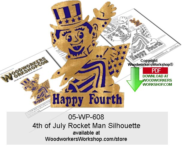 4th of July Rocket Man Silhouette Wood Pattern Downloadable