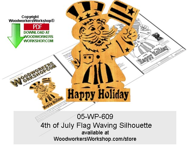05-WP-609 -  4th of July Flag Waving Silhouette Wood Pattern Downloadable PDF