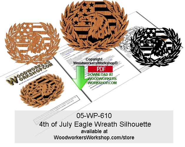 05-WP-610 - 4th of July Eagle Wreath Silhouette Woodcraft Pattern Downloadable PDF