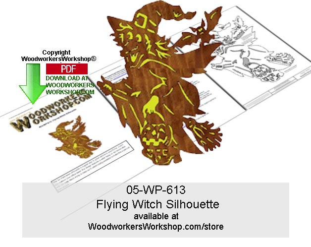 Flying Witch Silhouette Scrollsawing Woodwork Pattern Downloadable