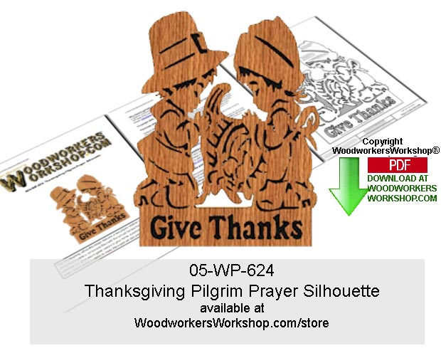 Thanksgiving Pilgrim Prayer Silhouette Scrollsaw Downloadable