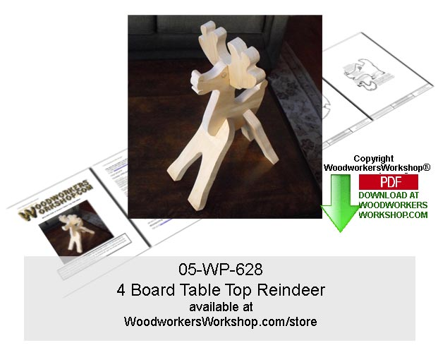 05-WP-628 - 4 Board Table Top Reindeer Woodworking Pattern Downloadable PDF