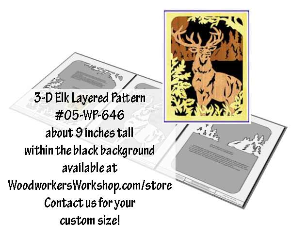 3-D Elk Layered Silhouette Downloadable Scrollsaw Wood Plan