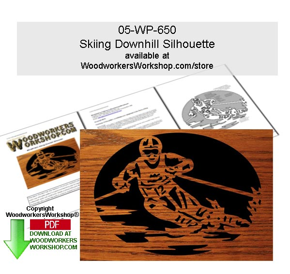 Skiing Downhill Scrollsawing Woodworking Downloadable Pattern