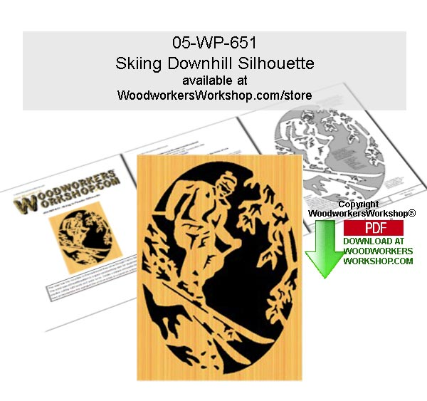 Skiing in Powder Scrollsawing Woodworking Downloadable Pattern