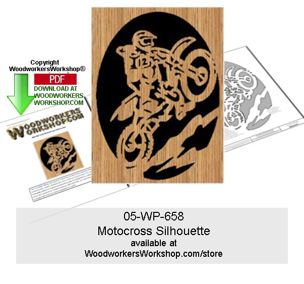 Motocross Scrollsawing Woodworking Pattern Downloadable