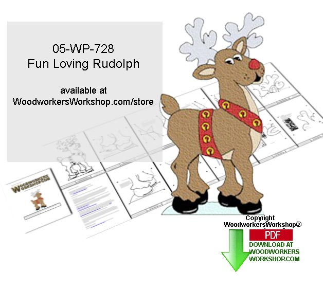 Fun Loving Rudolph Downloadable Yard Art Woodcrafting Pattern