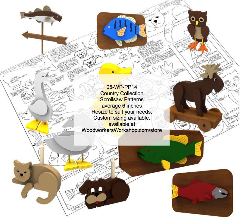 05-WP-PP14 - Country Critters Scrollsaw Collection Woodworking Pattern Set